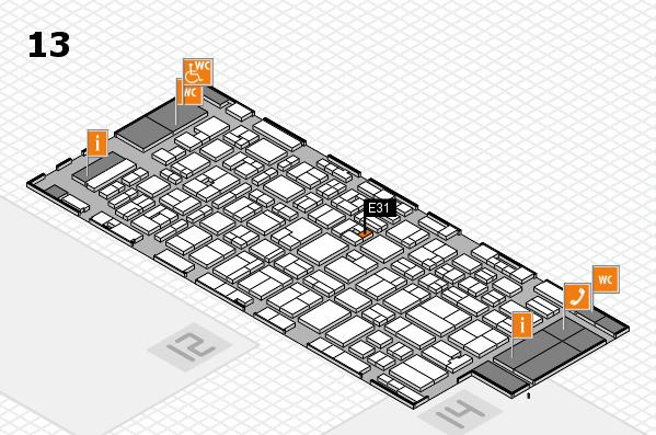 MEDICA 2016 hall map (Hall 13): stand E31