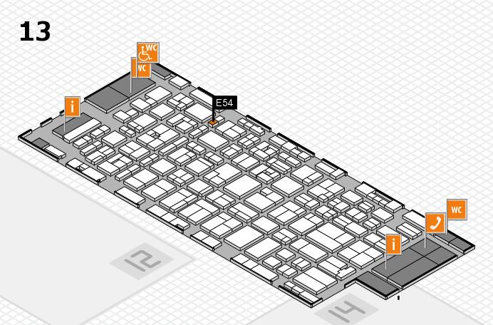 MEDICA 2016 hall map (Hall 13): stand E54