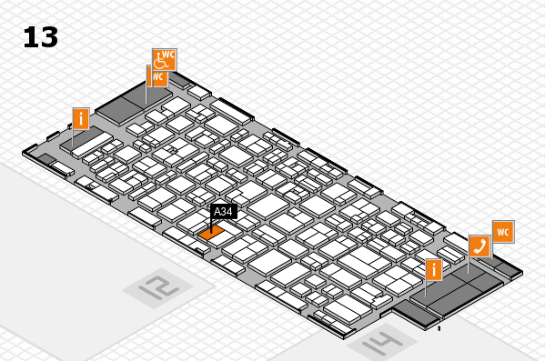MEDICA 2016 hall map (Hall 13): stand A34