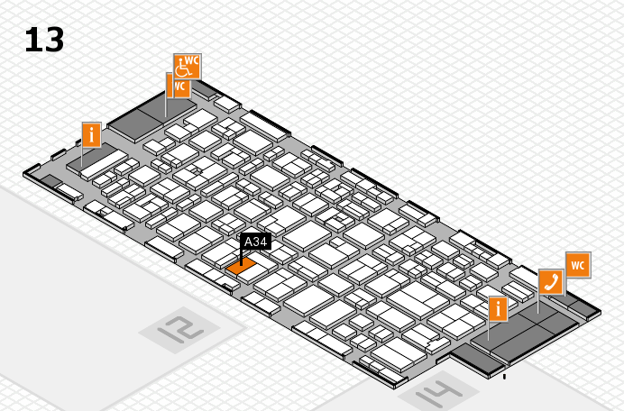 MEDICA 2016 hall map (Hall 13): stand A34