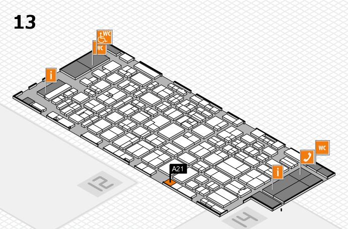 MEDICA 2016 hall map (Hall 13): stand A21