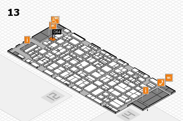 MEDICA 2016 hall map (Hall 13): stand D64