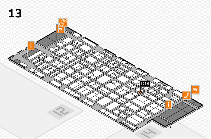 MEDICA 2016 hall map (Hall 13): stand D18