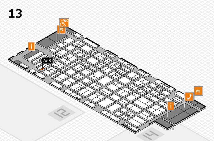 MEDICA 2016 hall map (Hall 13): stand A58