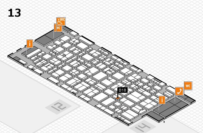 MEDICA 2016 hall map (Hall 13): stand B18