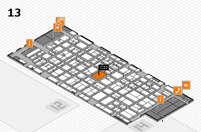 MEDICA 2016 hall map (Hall 13): stand C32