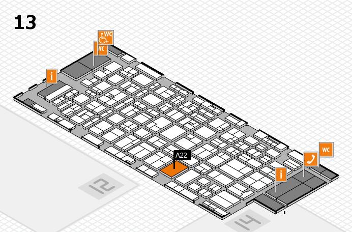 MEDICA 2016 hall map (Hall 13): stand A22