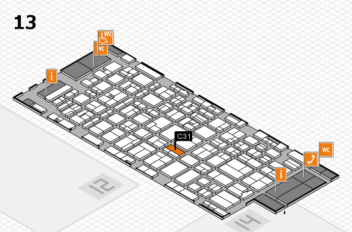 MEDICA 2016 hall map (Hall 13): stand C31