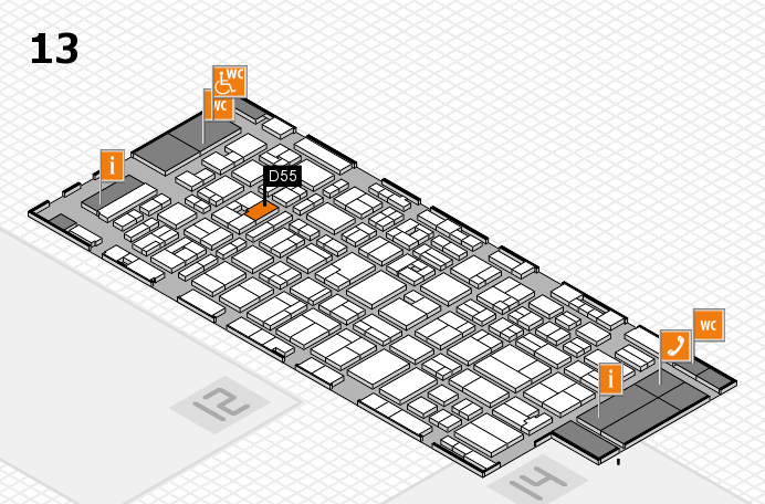 MEDICA 2016 hall map (Hall 13): stand D55