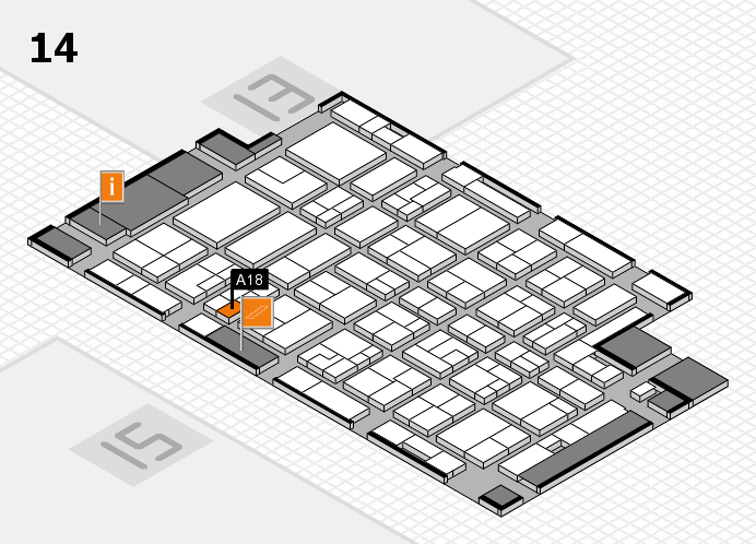 MEDICA 2016 hall map (Hall 14): stand A18