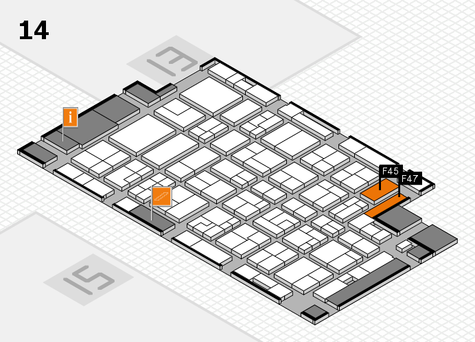 MEDICA 2016 hall map (Hall 14): stand F45, stand F47