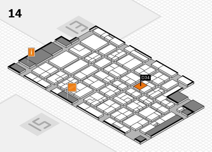 MEDICA 2016 hall map (Hall 14): stand D34