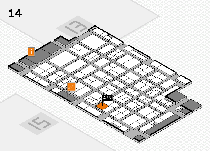MEDICA 2016 hall map (Hall 14): stand A36