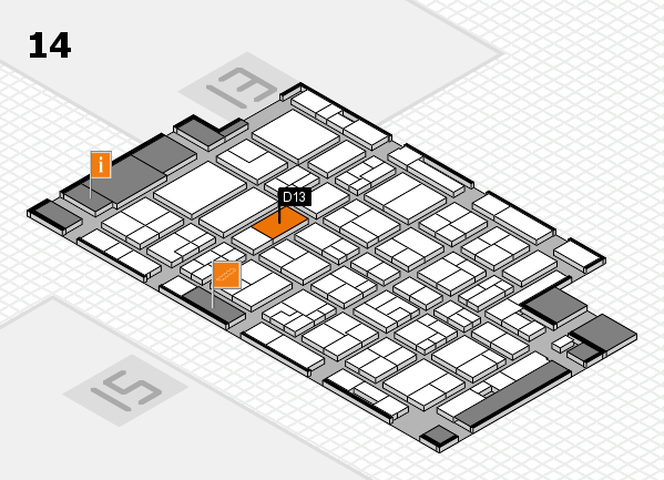 MEDICA 2016 hall map (Hall 14): stand D13