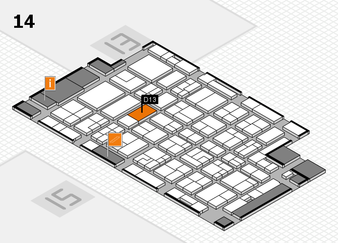 MEDICA 2016 hall map (Hall 14): stand D13