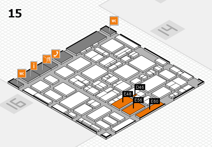 MEDICA 2016 hall map (Hall 15): stand D46, stand E60