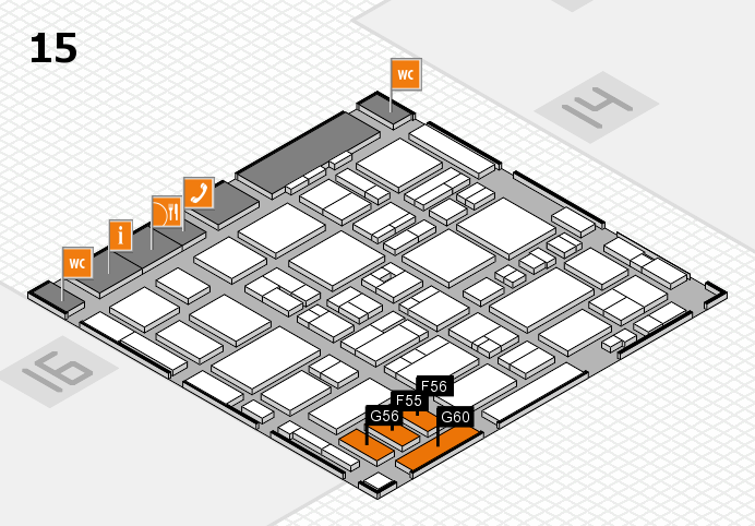MEDICA 2016 hall map (Hall 15): stand F55, stand G60