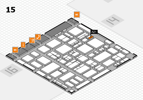 MEDICA 2016 hall map (Hall 15): stand A21