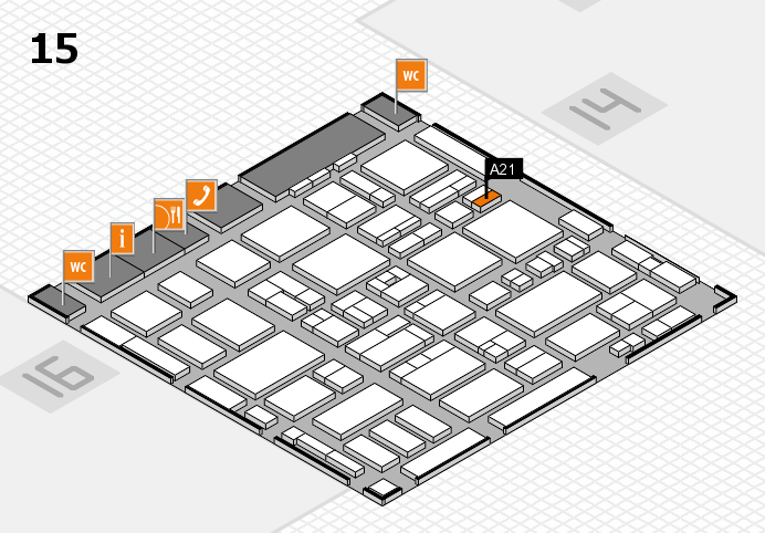 MEDICA 2016 hall map (Hall 15): stand A21