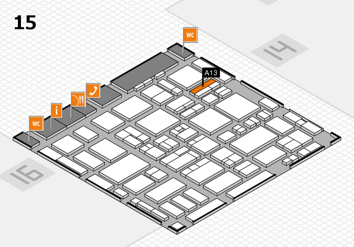 MEDICA 2016 hall map (Hall 15): stand A13