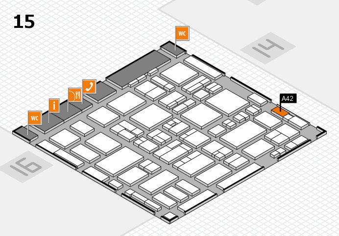 MEDICA 2016 hall map (Hall 15): stand A42