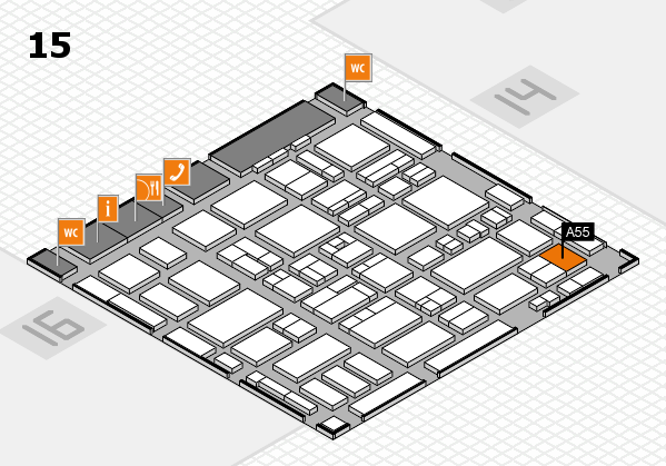 MEDICA 2016 hall map (Hall 15): stand A55