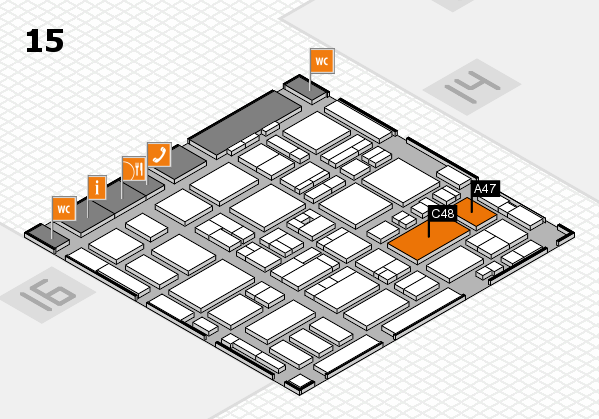 MEDICA 2016 hall map (Hall 15): stand A47, stand C48