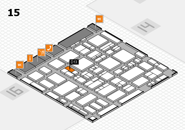 MEDICA 2016 hall map (Hall 15): stand D13