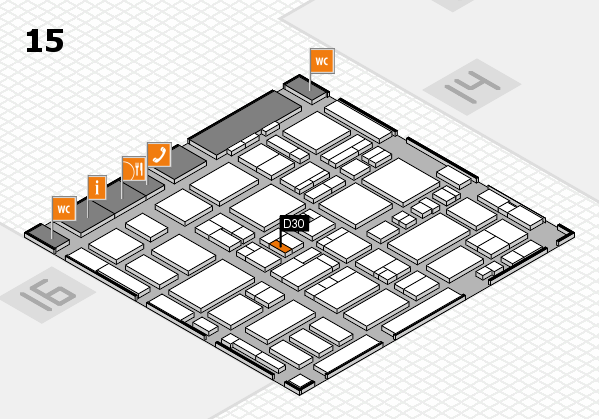 MEDICA 2016 hall map (Hall 15): stand D30