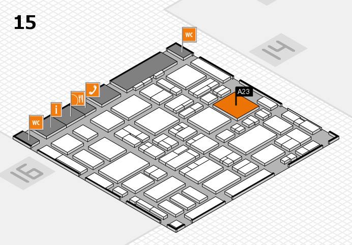 MEDICA 2016 hall map (Hall 15): stand A23