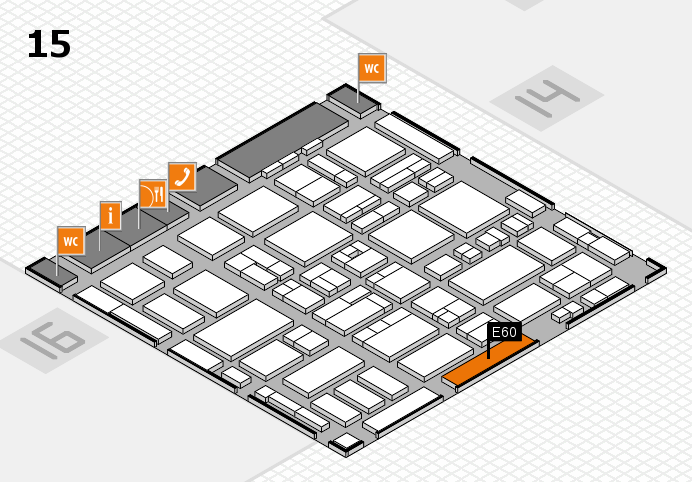MEDICA 2016 hall map (Hall 15): stand E60