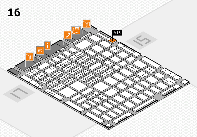 MEDICA 2016 hall map (Hall 16): stand A18