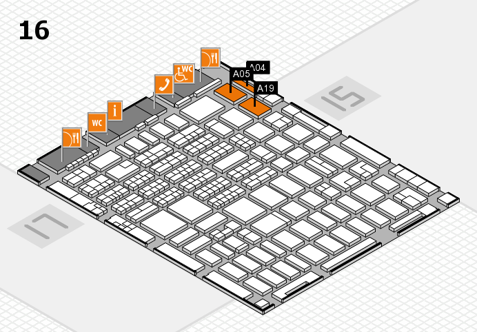 MEDICA 2016 hall map (Hall 16): stand A04, stand A19