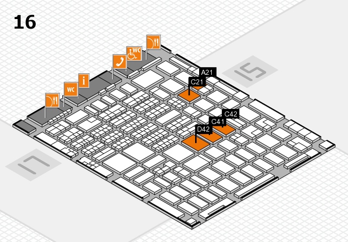MEDICA 2016 hall map (Hall 16): stand A21, stand D42