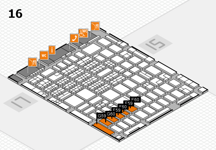 MEDICA 2016 hall map (Hall 16): stand E59, stand G60