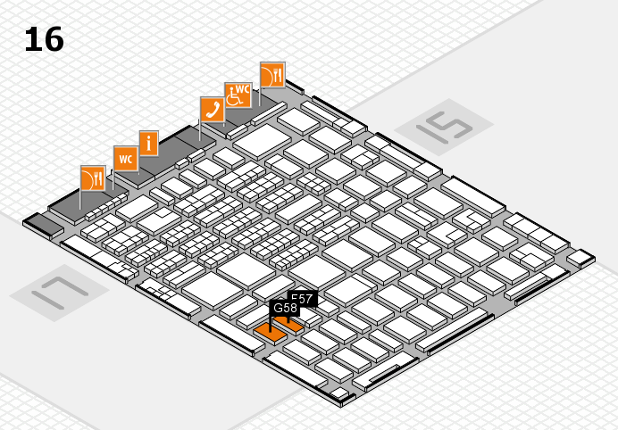 MEDICA 2016 hall map (Hall 16): stand F57, stand G58