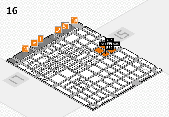 MEDICA 2016 hall map (Hall 16): stand A31, stand B39