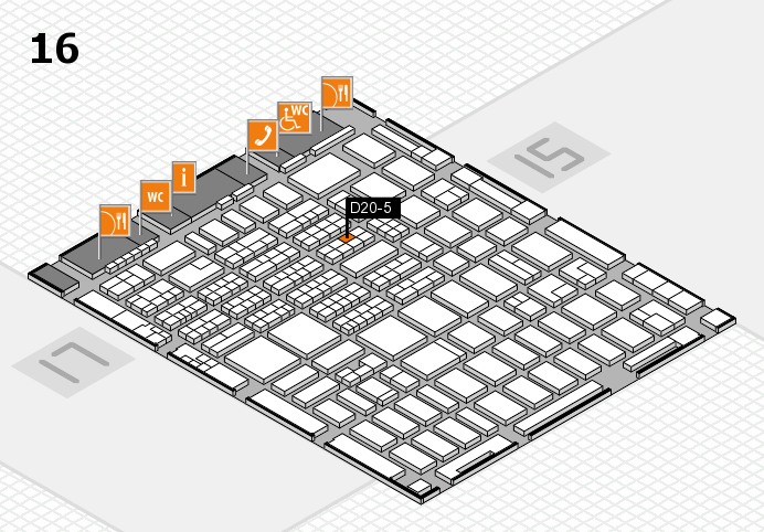 MEDICA 2016 hall map (Hall 16): stand D20-5