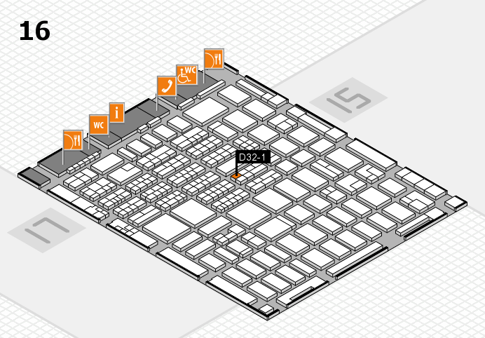 MEDICA 2016 hall map (Hall 16): stand D32-1