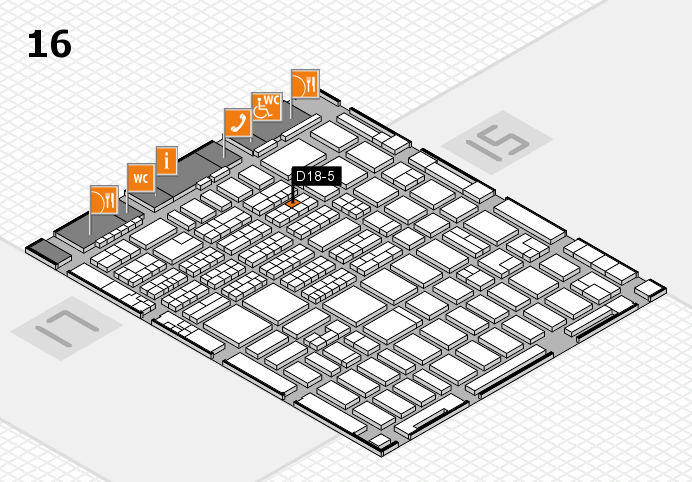 MEDICA 2016 hall map (Hall 16): stand D18-5