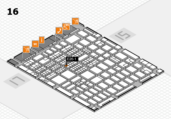 MEDICA 2016 hall map (Hall 16): stand E26-1