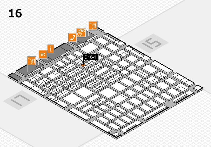 MEDICA 2016 hall map (Hall 16): stand D18-1