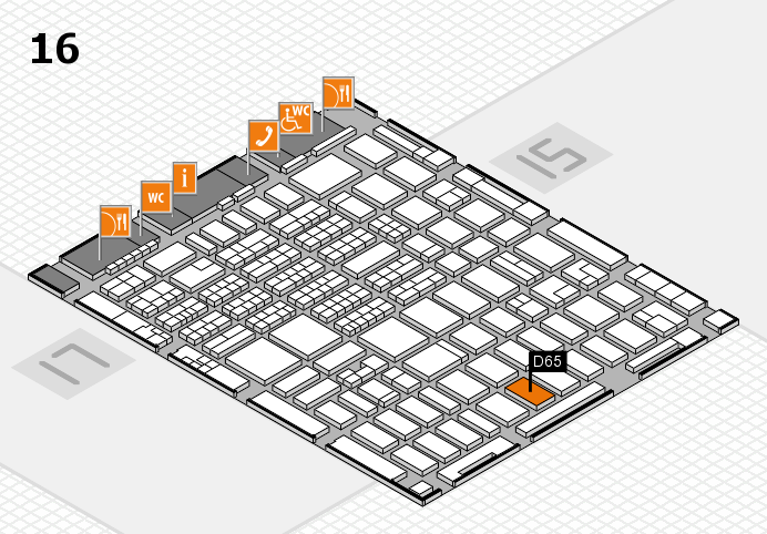 MEDICA 2016 hall map (Hall 16): stand D65