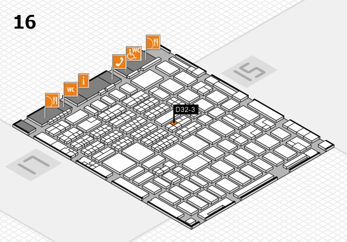 MEDICA 2016 hall map (Hall 16): stand D32-3