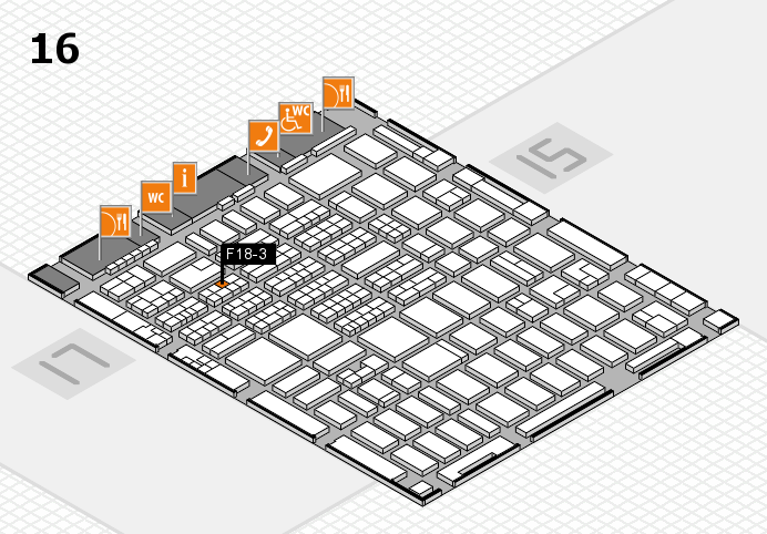 MEDICA 2016 hall map (Hall 16): stand F18-3