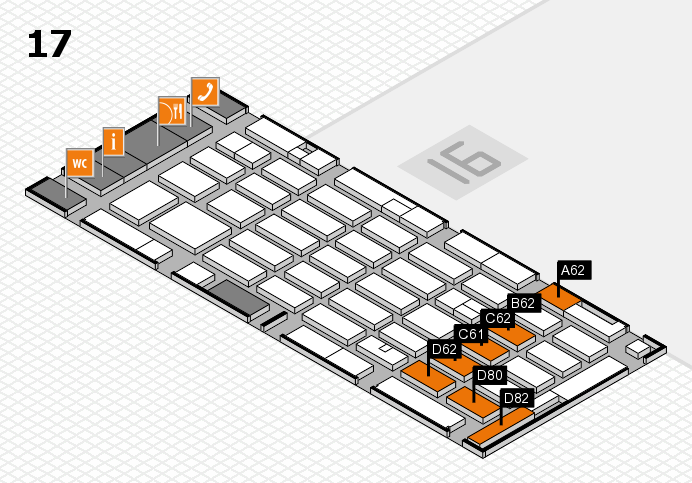 MEDICA 2016 hall map (Hall 17): stand A62, stand D82