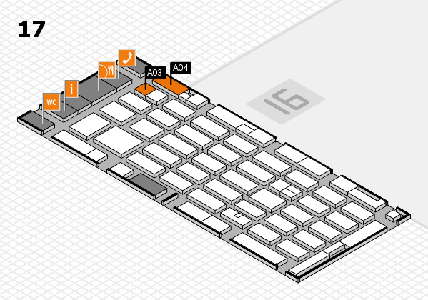 MEDICA 2016 hall map (Hall 17): stand A03, stand A04