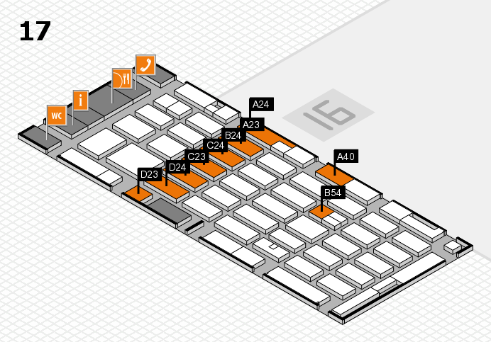 MEDICA 2016 hall map (Hall 17): stand A23, stand D24