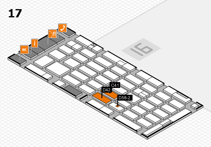 MEDICA 2016 hall map (Hall 17): stand C41, stand D58-2