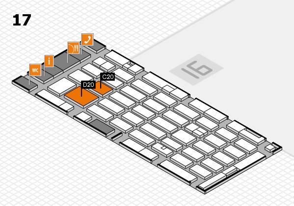 MEDICA 2016 hall map (Hall 17): stand C20, stand D20